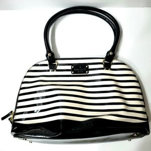 Kate Spate Black/Cream Syripe Patent Leather Tote